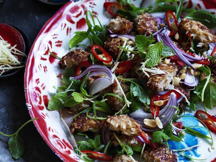 "**[Crispy pork and rice ball salad](https://www.womensweeklyfood.com.au/recipes/crispy-pork-and-rice-ball-salad-11970|target=""_blank"")**"