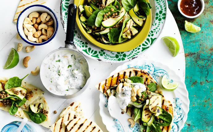 flatbreads with spinach, lentil and zucchini salad