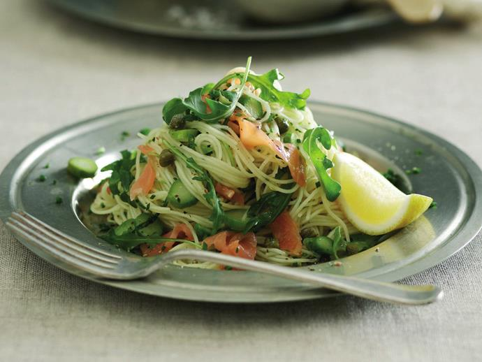 "**[Angel hair pasta with smoked salmon & asparagus](https://www.womensweeklyfood.com.au/recipes/angel-hair-pasta-with-smoked-salmon-and-asparagus-16553|target=""_blank"")**  For those evenings when you need something tasty for dinner in double quick time, this delicious angel hair pasta with smoked salmon and asparagus can be on your table in under 15 minutes."