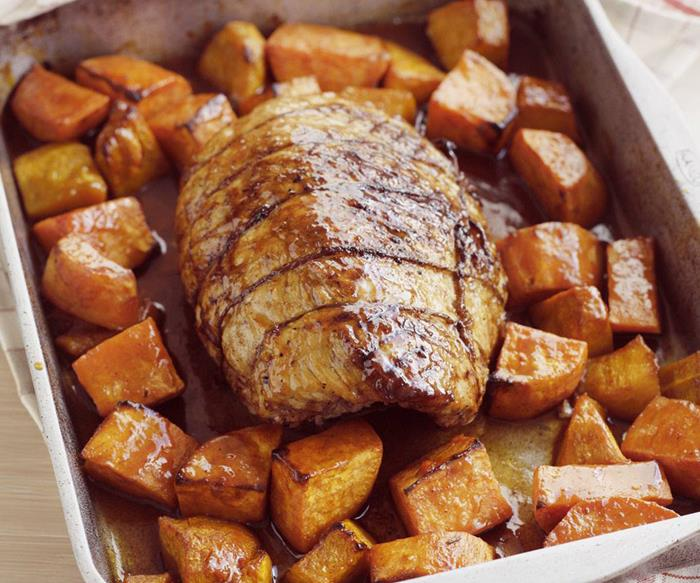 PORK SILVERSIDE ROAST WITH MAPLE-ROASTED VEGIES
