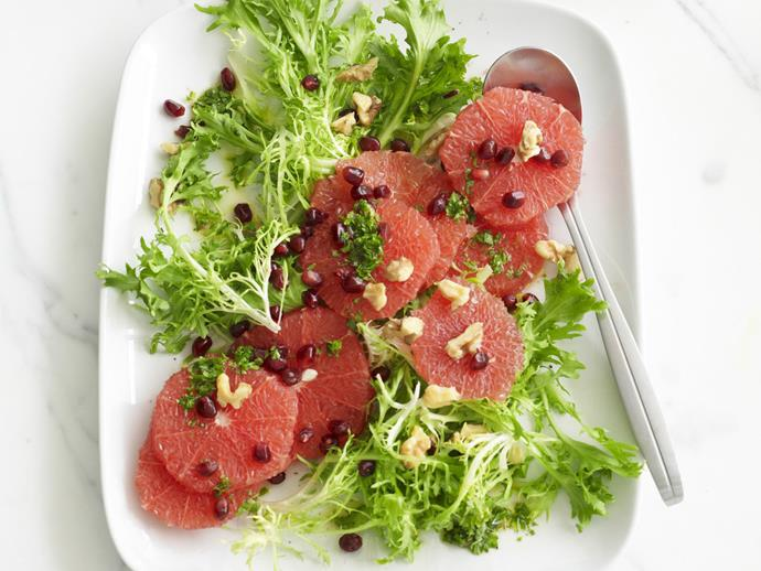 "**[Ruby grapefruit, pomegranate and endive salad](https://www.womensweeklyfood.com.au/recipes/ruby-grapefruit-pomegranate-and-endive-salad-4840|target=""_blank"")**"