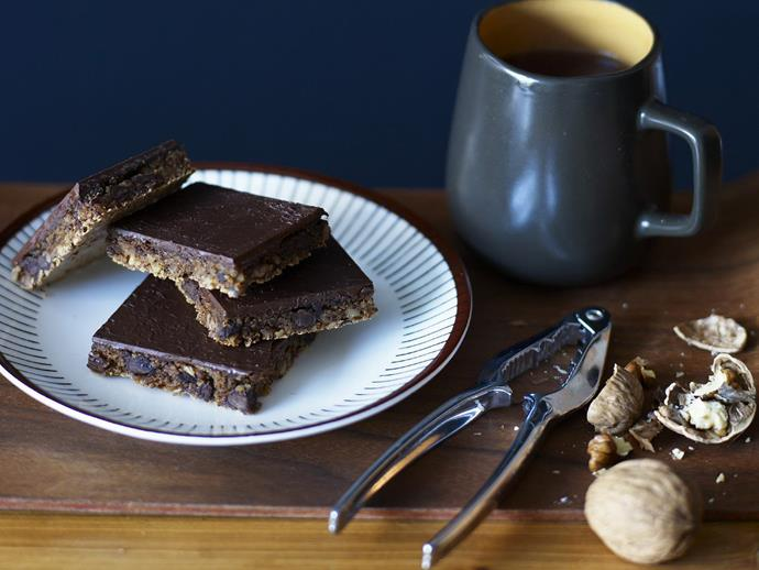 """**[Decadent double-choc slice](https://www.womensweeklyfood.com.au/recipes/decadent-double-choc-slice-11601 target=""""_blank"""")**  Decadent baking in under half an hour? Amazing but true with this delicious chocolate slice recipe!"""