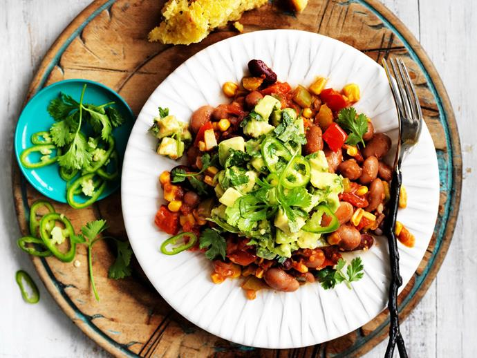 "**[Mexican beans with cornbread and avocado salsa](https://www.womensweeklyfood.com.au/recipes/mexican-beans-with-cornbread-and-avocado-salsa-11634|target=""_blank"")**  A meat-free meal to feast on, these spicy Mexican beans with cornbread and avocado salsa are delicious."
