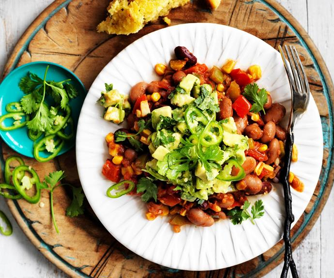 mexican beans with cornbread and avocado salsa