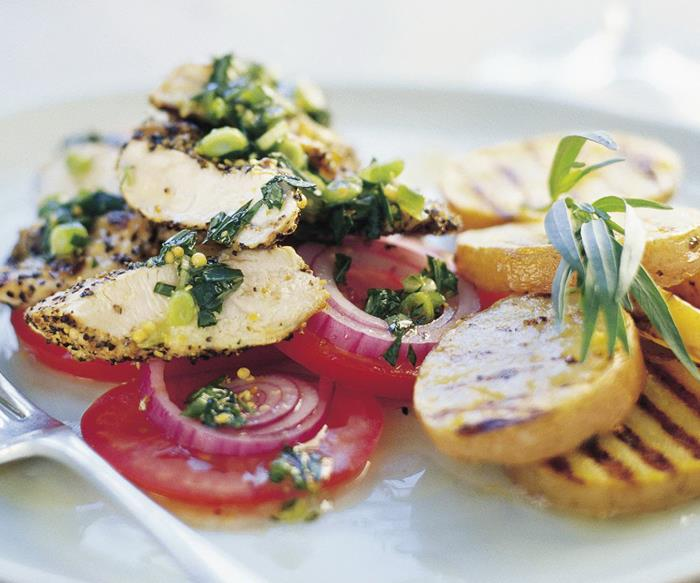 Chicken tenderloins in green peppercorn and tarragon dressing