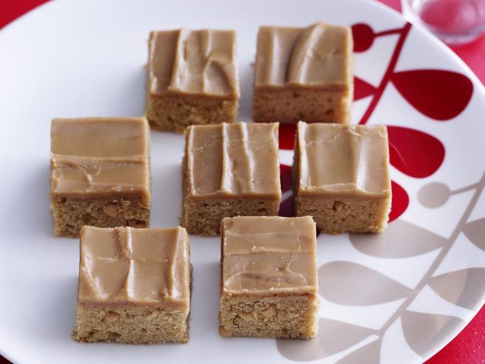 """**[Butterscotch peanut slice](https://www.womensweeklyfood.com.au/recipes/butterscotch-peanut-slice-11640 target=""""_blank"""")**"""