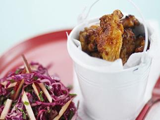 finger lickin' chicken wings with pink coleslaw