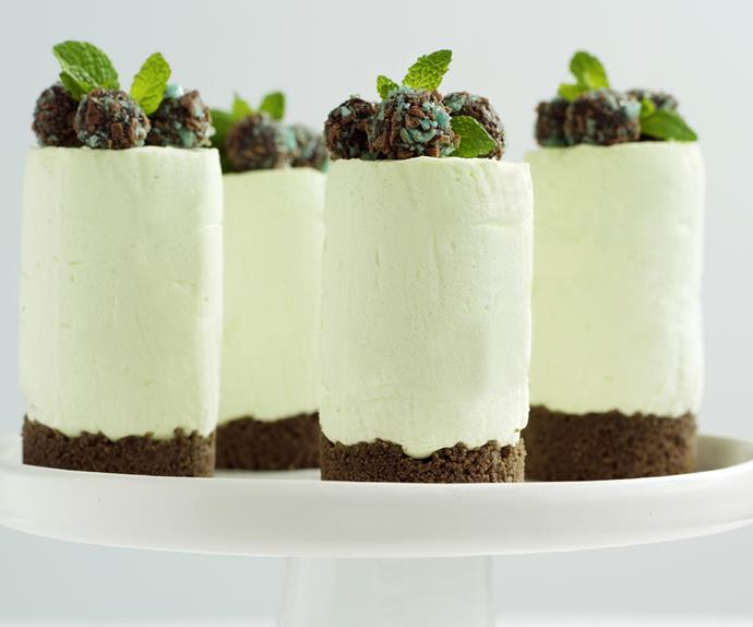 mint chocolate truffle cheesecakes