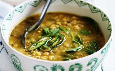 Yellow dhal with spinach