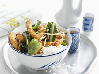 prawn and scallop chilli jam stir-fry