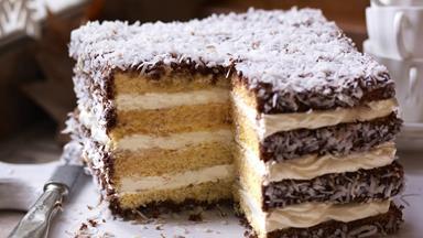 Lamington cream layer cake