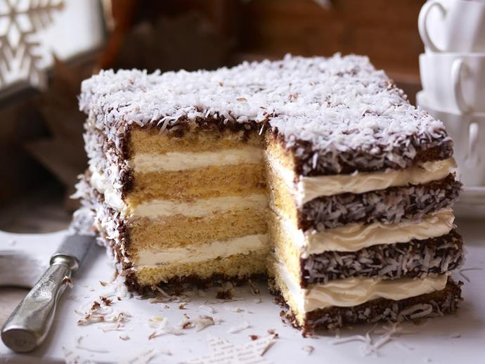 "**[Lamington cream layer cake](https://www.womensweeklyfood.com.au/recipes/lamington-cream-layer-cake-4703|target=""_blank"")**  The classic Australian lamington gets a mega-sized makeover for this delicious giant layer cake."