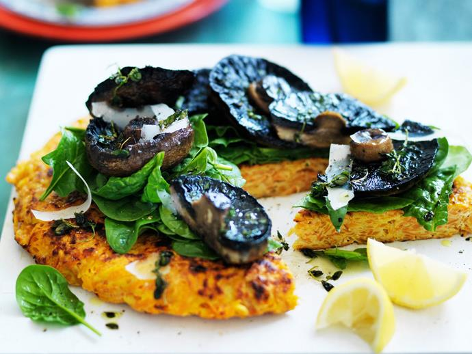 "**[Kumara rösti with portobello mushrooms](https://www.womensweeklyfood.com.au/recipes/kumara-roesti-with-portobello-mushrooms-11307|target=""_blank"")**"