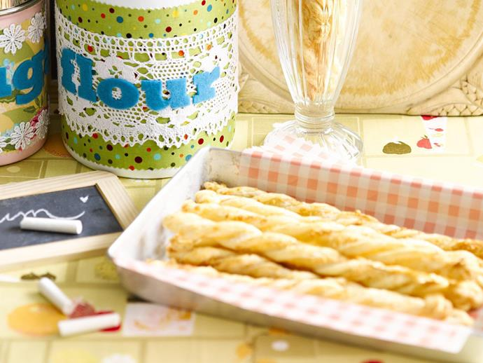"**[Puff pastry cheese straws](https://www.womensweeklyfood.com.au/recipes/puff-pastry-cheese-straws-4710|target=""_blank"")**"