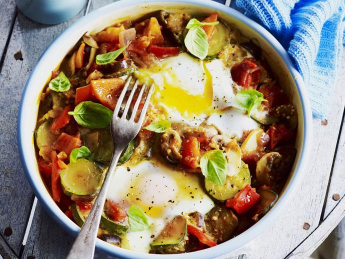 "**[Ratatouille with eggs](https://www.womensweeklyfood.com.au/recipes/ratatouille-with-eggs-4718|target=""_blank"")**"