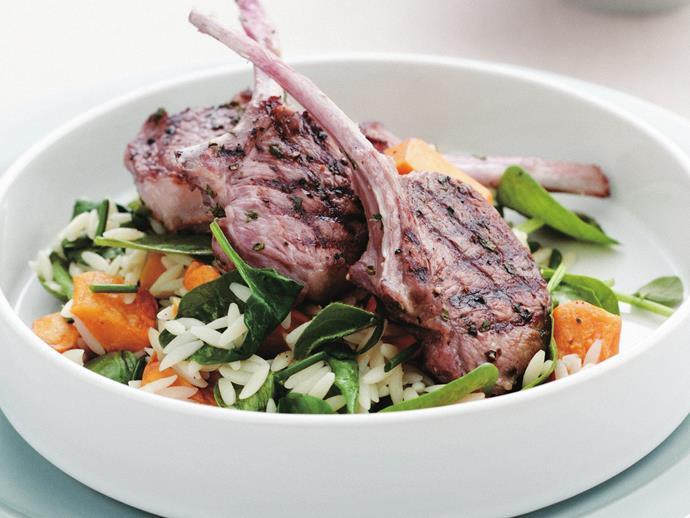 """**[Grilled lamb cutlets with warm risoni salad](https://www.womensweeklyfood.com.au/recipes/grilled-lamb-cutlets-with-warm-risoni-salad-4725