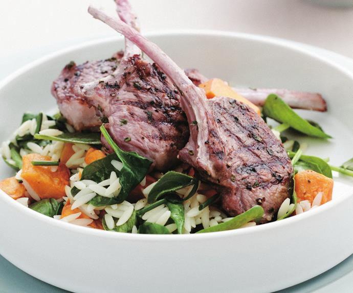 grilled lamb cutlets with warm risoni salad