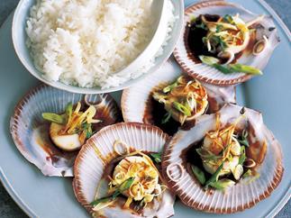 steamed sesame scallops