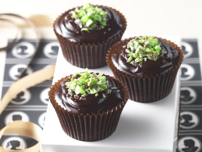 "These indulgent cupcakes with [choc mint crush](https://www.womensweeklyfood.com.au/recipes/choc-mint-crush-11384|target=""_blank"") are a delightful treat for any time of day."
