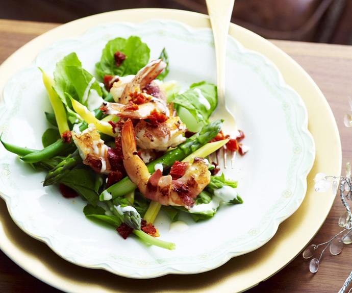 prosciutto-wrapped prawns with bean salad