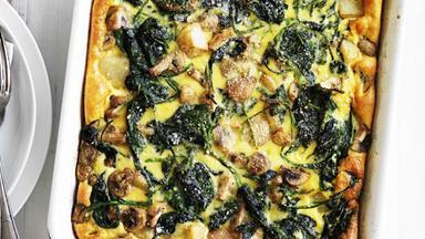Mushroom, potato & spinach tortilla