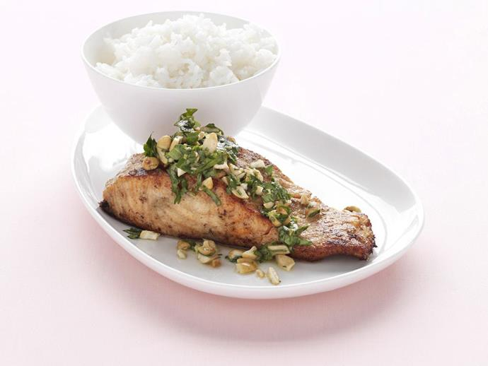 "Sometimes the simplest recipes are truly the best, you'll delight your guests when you serve up these [salmon fillets with green curry](https://www.womensweeklyfood.com.au/recipes/salmon-fillet-with-green-curry-11431|target=""_blank"") on a bed of steamed rice."