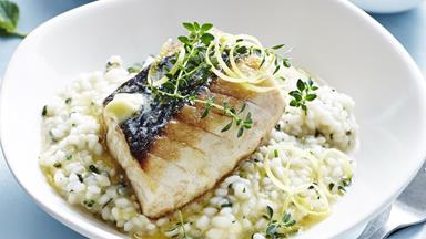 Oven-baked fish with lemon & mint risotto