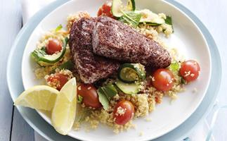 sumac fish with couscous salad