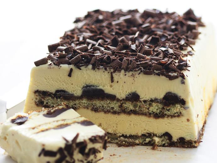 "A cool twist on the classic tiramisu, this [frozen tiramisu terrine](http://www.womensweeklyfood.com.au/recipes/frozen-tiramisu-terrine-11447|target=""_blank"") layers creamy marscapone mix, chocolate ganache and coffee-soaked sponge fingers for a delicious frozen dessert."