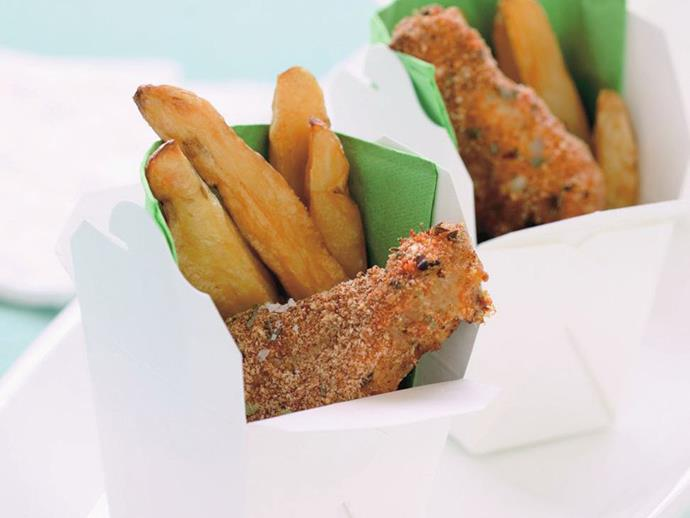 """**[Chicken and chips](http://www.womensweeklyfood.com.au/recipes/chicken-and-chips-11456