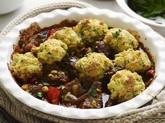 veal goulash with parsley dumplings