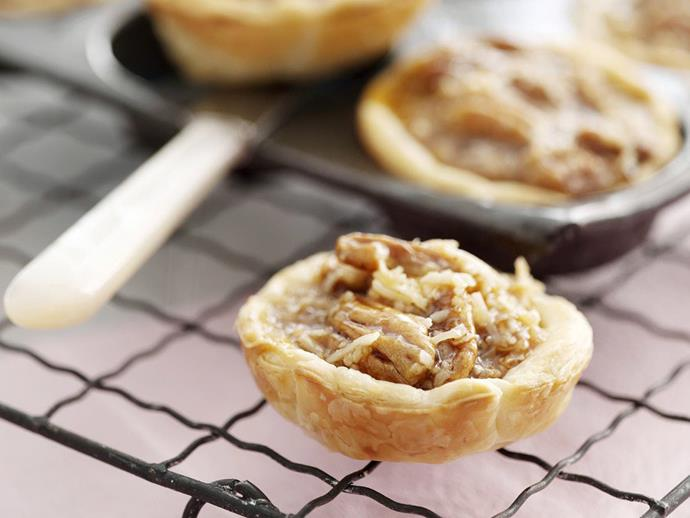 "**[Sticky pecan tarts](https://www.womensweeklyfood.com.au/recipes/sticky-pecan-tarts-4549|target=""_blank"")**"