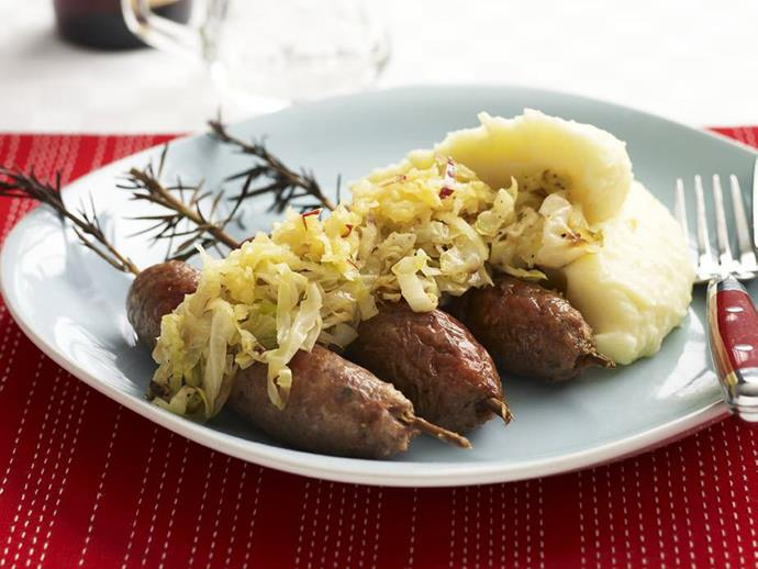 "**[Rosemary lamb sausages with buttermilk mash](https://www.womensweeklyfood.com.au/recipes/rosemary-lamb-sausages-with-buttermilk-mash-10978|target=""_blank"")**  Spearing lamb sausages with rosemary stems allows the fragrance of the herb to permeate all the way through the sausages. Divine served with buttermilk mash and apple larded sauerkraut."