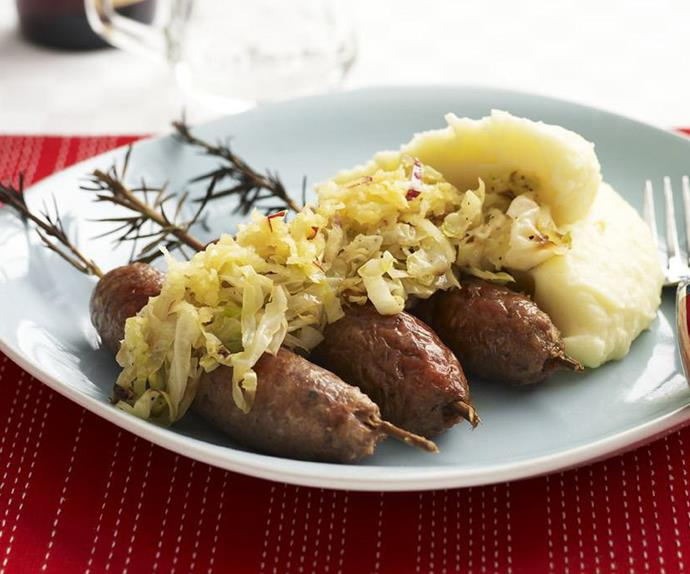 ROSEMARY LAMB SAUSAGES WITH BUTTERMILK MASH
