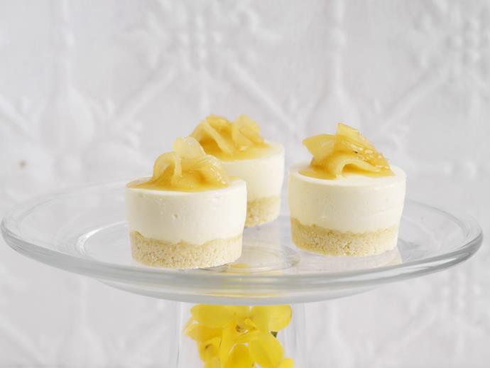 "**[Pineapple and coconut cheesecakes](https://www.womensweeklyfood.com.au/recipes/pineapple-and-coconut-cheesecakes-4602|target=""_blank"")**"