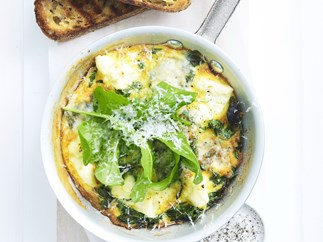 quick three-cheese frittata