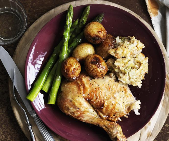 roast chicken with herb stuffing