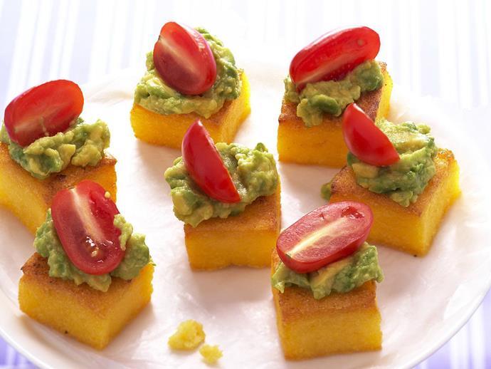 "[*Polenta and avocado bites*](https://www.womensweeklyfood.com.au/recipes/polenta-and-avocado-bites-4447|target=""_blank"")"