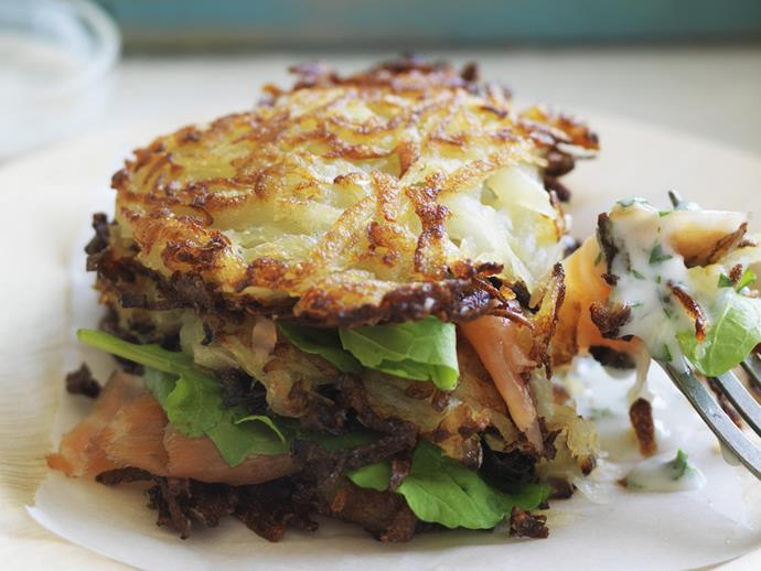 "**[Smoked salmon rosti stacks](https://www.womensweeklyfood.com.au/recipes/smoked-salmon-rosti-stacks-4456|target=""_blank"")**"