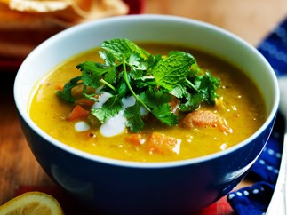 CURRIED KUMARA AND LENTIL SOUP