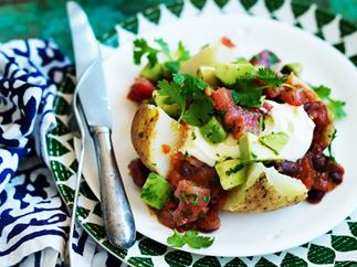 mexican stuffed potatoes with spiced tomato and avocado salsa