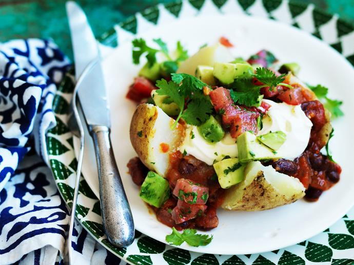 """**[Mexican stuffed potatoes with spiced tomato and avocado salsa](https://www.womensweeklyfood.com.au/recipes/mexican-stuffed-potatoes-with-spiced-tomato-and-avocado-salsa-4468