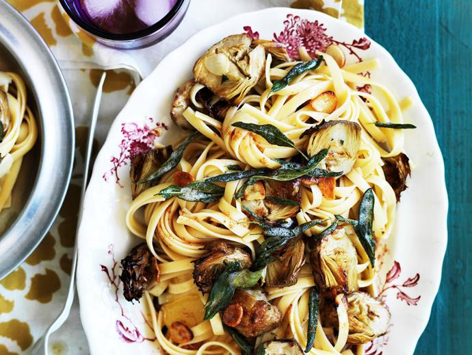 "**[Fettuccine with burnt sage butter, roasted artichokes and garlic](https://www.womensweeklyfood.com.au/recipes/fettuccine-with-burnt-sage-butter-roasted-artichokes-and-garlic-10659|target=""_blank"")**  The nutty flavour of burnt butter pairs beautifully with the tang of roasted marinated artichokes in this gorgeously simple pasta dish."