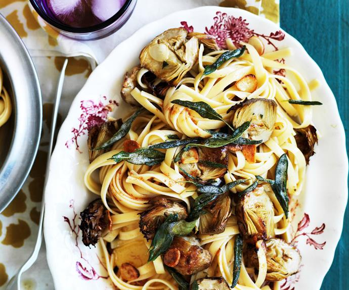 fettuccine with burnt sage butter, roasted artichokes and garlic
