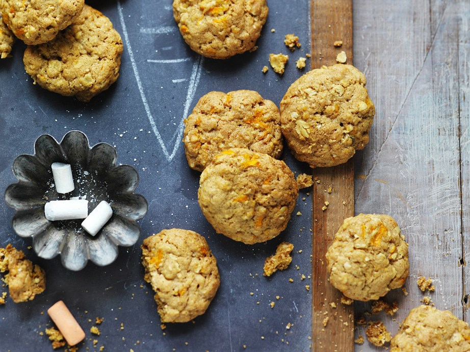 "These **[golden oaty carrot cookies](https://www.womensweeklyfood.com.au/recipes/golden-oaty-carrot-cookies-10669|target=""_blank"")** make for the perfect lunchbox or cuppa companion."