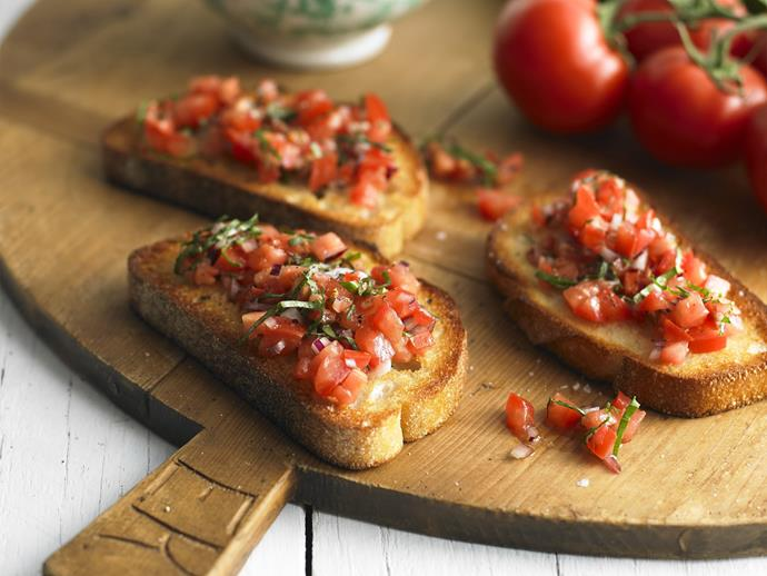 "The beauty of this [bruschetta](https://www.womensweeklyfood.com.au/recipes/bruschetta-15056|target=""_blank"") recipe lies in the simple combination of fresh ingredients. This dish is a popular addition to any antipasto plate, or delicious on its own."