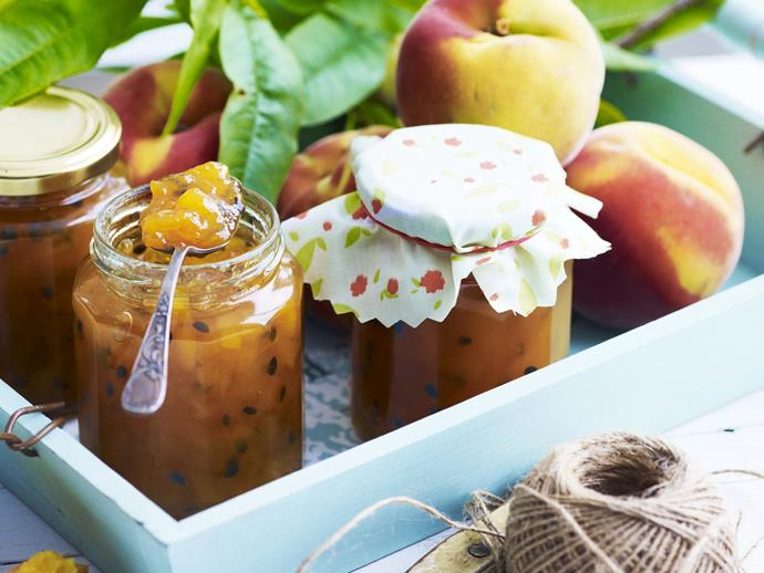 """This **[peach and passionfruit jam](http://www.foodtolove.com.au/recipes/peach-and-passionfruit-jam-29310 target=""""_blank"""")** makes the perfect heartfelt gift."""