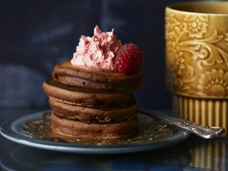 pikelets with raspberry butter