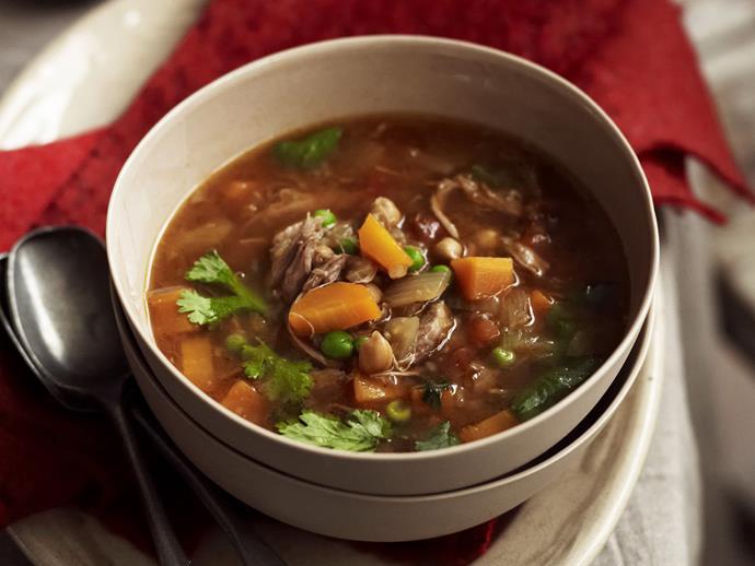 "**[Lamb shank, fennel and vegetable soup](https://www.womensweeklyfood.com.au/recipes/lamb-shank-fennel-and-vegetable-soup-10725|target=""_blank"")**"