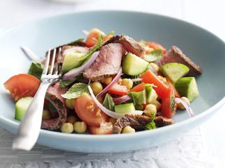 beef, mint and cucumber salad